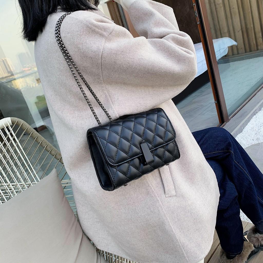 [HÀNG QUẢNG CHÂU] Túi xách đeo chéo da nữ trần trám khóa dài-T1135