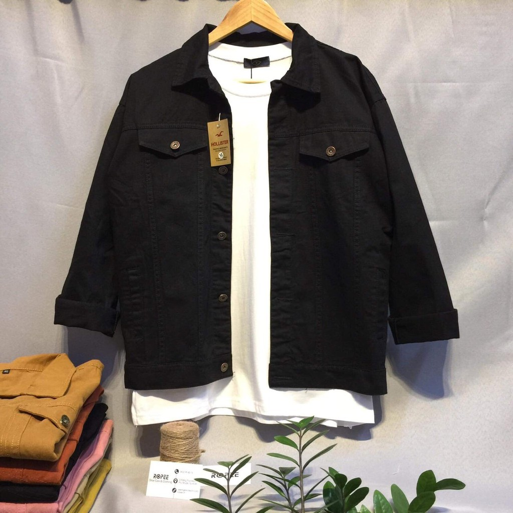Áo Khoác Kaki Jean Cực Chất - Màu Đen