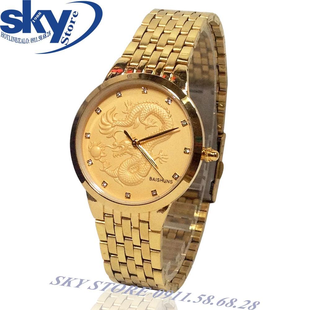 Đồng hồ nam BAISHUNS 01261 (VÀNG) dây thép không gỉ mặt chạm rồng nổi
