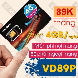 Sim 4G Vinaphone VD89P 4GB/ngày (120GB/tháng+50phút ngoại mạng,Miễn phí gọi nội mạng chỉ với 89k/tháng LTmart