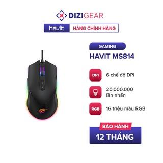 Chuột Gaming HAVIT MS814, 16 Triệu Màu RGB, 6 Chế Độ DPI, Tích Hợp 7 Nút Điều Chỉnh - Chính Hãng BH 12 Tháng Dizigear thumbnail