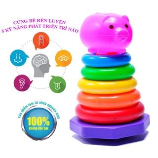 FREESHIP ĐƠN 99K_Đồ chơi tháp xếp chồng cho bé 6 tháng – nhựa an toàn