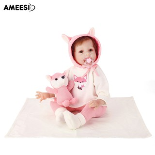 🔅🔆AMEESI 55cm Reborn Baby Vinyl Doll Toy with Fox Embroidery Clothes