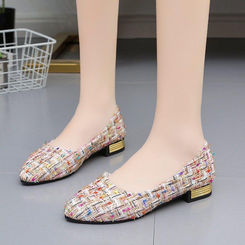 Giày búp bê mũi nhọn phối sọc caro phong cách Hàn Quốc (kích thước 41 42)