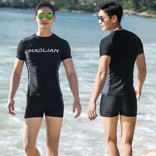 [Spot] Swimsuit Men's Suit Loose XL Split Top Boxer Swimsuit Sunscreen Student Training Youth Hot Spring