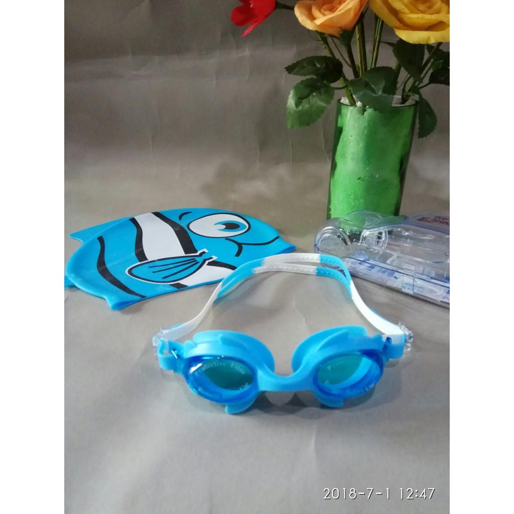 Kính bơi trẻ em CLEACCO hộp ô tô màu xanh biển