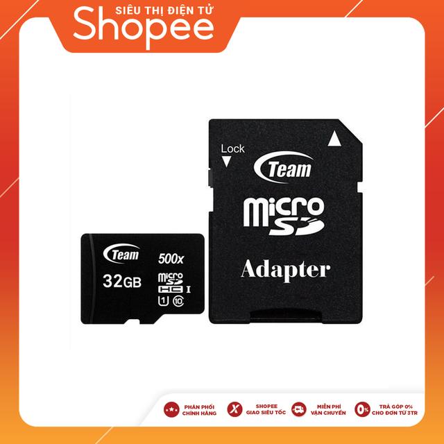 Thẻ nhớ Team Group MicroSD 32GB Class 10 kèm Adapter (Đen) - Chính Hãng