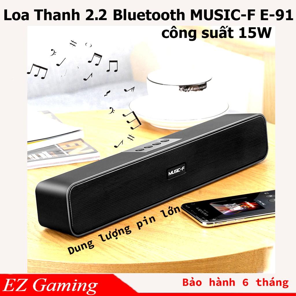 Loa Thanh soundbar 2.2 Bluetooth Music-F E91 10W, Pin dung lượng lớn, âm thanh sống động, Hổ trợ thẻ nhớ,USB, Jack 3.5.