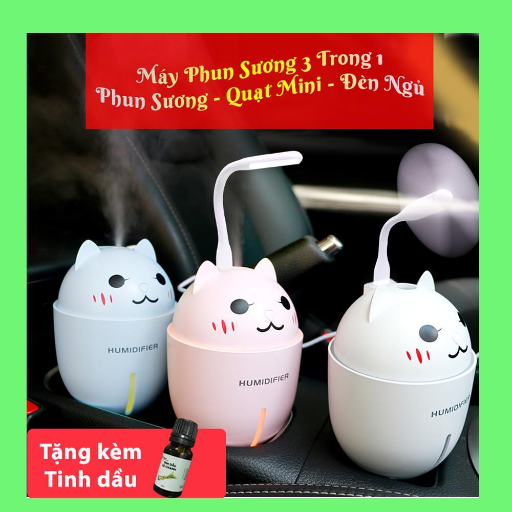 [Mua 1 Được 4 ] Máy Phun Sương, Tạo Ẩm, Khuếch Tán Tinh Dầu 3 Trong 1 Hình Mèo Cute, Tặng Kèm Đèn LED , Quạt Mini