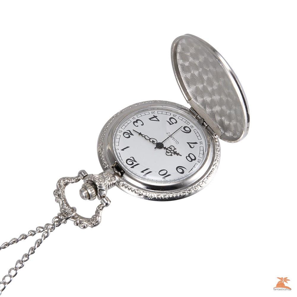 #Đồng hồ bỏ túi# 1pc Men Women Quartz Pocket Watch Silver Truck Carved Case with Chain