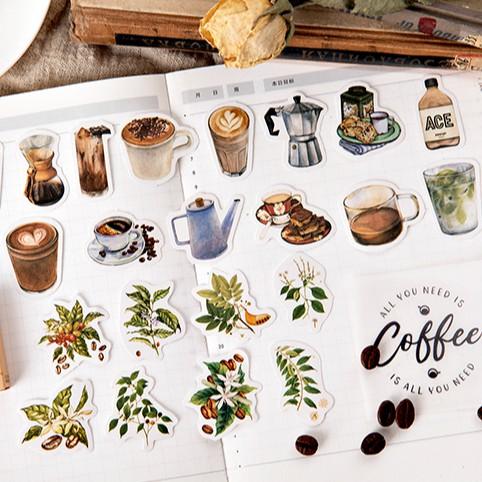 Combo sticker coffee rẻ đẹp hình cà phê màu vintage siêu xinh sticker dán trang trí planner sổ tay Stickerbosuashop