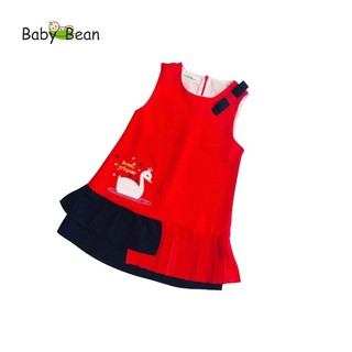 Đầm Đũi thêu Thiên Nga Xếp Ly bé gái BabyBean (ĐỎ, HỒNG, VÀNG)