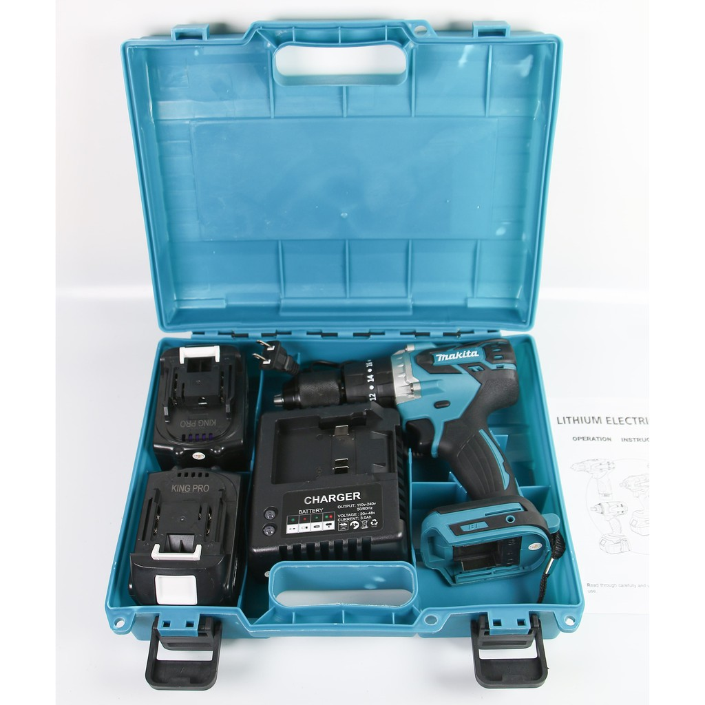 Máy khoan pin cầm tay Makita 118V 5.0Ah- Motor từ không chổi than, lõi đồng 100% - Đầu 13mm, 3 chế độ khoan, vít, búa