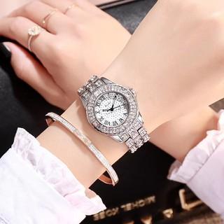 Đồng hồ thời trang nữ Luobos dây kim loại đính cườm S4179
