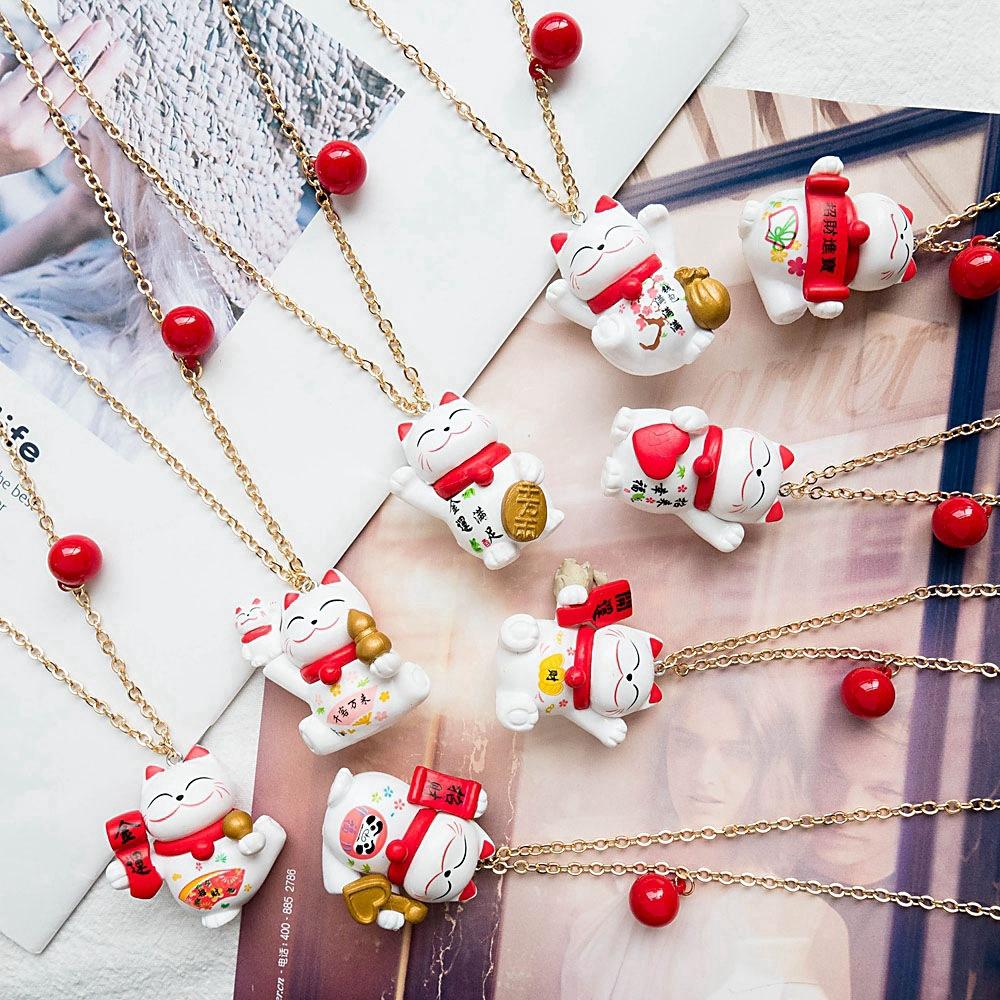 Korea Creative Long Pendant Cute Expression Lucky Cat Necklace Dream Cartoon สร้อยคอ Female Multicolor Optional