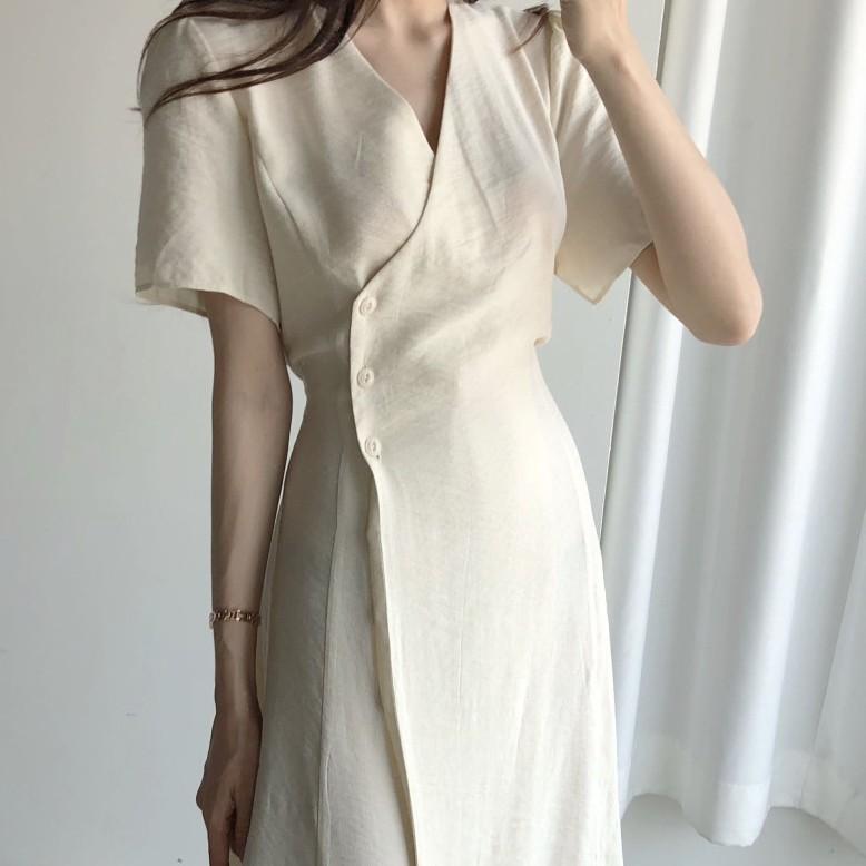 Mặc gì đẹp: Xinh đẹp với  Đầm Midi Tay Phồng Cổ Chữ V Trơn Màu Thanh Lịch Dành Cho Nữ 33922