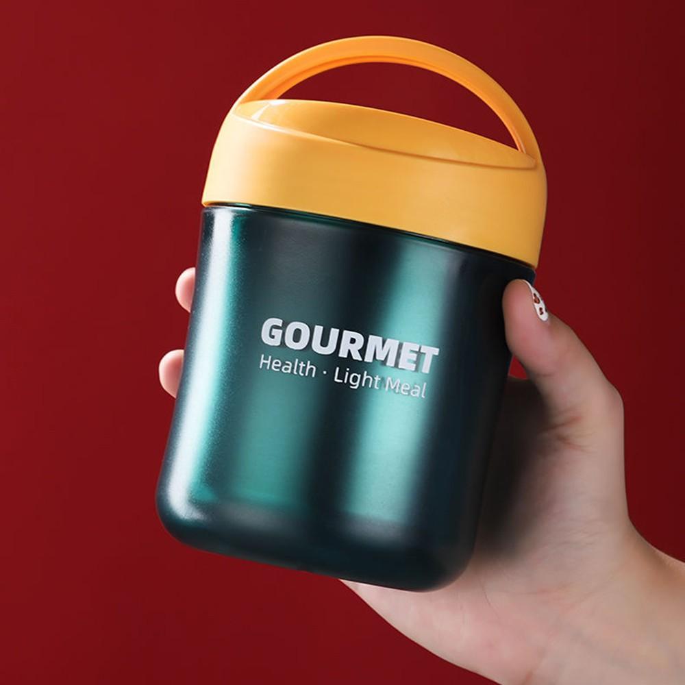 Bình ủ cháo cho bé GOURMET inox, 2 lớp, dung tích 500ml kèm muỗng, Hộp đựng thức ăn đựng cơm văn phòng tiện lợi