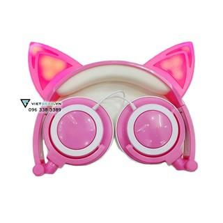 Tai nghe tai mèo Classic màu hồng trắng có đèn led siêu cute