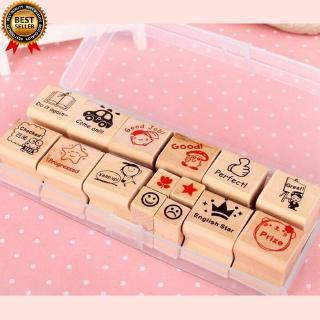 15pcs English Rewarding Kids Work Wooden Stamp For Teacher Parents With Box