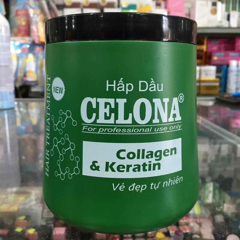 Hấp dầu Celona Collagen & Keratin vẻ đẹp tự nhiên 1000ml - xanh lá