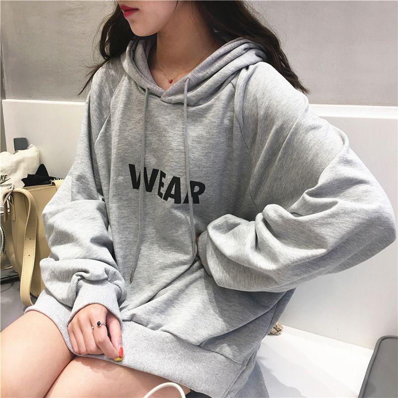 Áo hoodie mỏng dáng rộng tay dài in chữ cái tiếng Anh