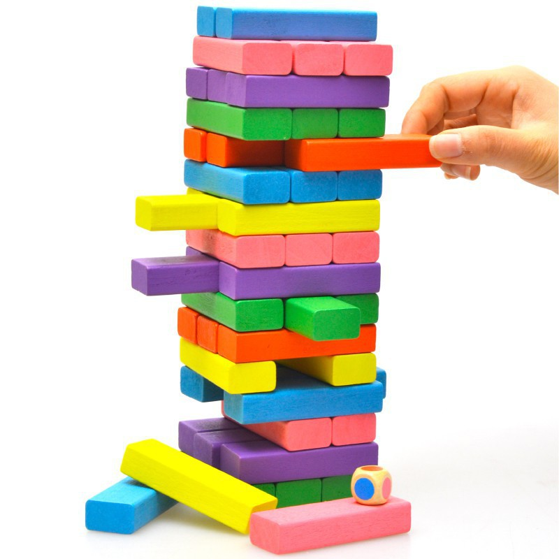 [Giá Rẻ Nhất] - Bộ đồ chơi rút gỗ 48 thanh màu