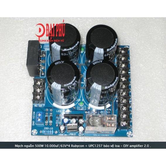 Mạch nguồn 500W 10.000uF/63V*4 Rubycon + UPC1237 bảo vệ loa - DIY amplifier 2.0 - 3304901 , 604436448 , 322_604436448 , 465000 , Mach-nguon-500W-10.000uF-63V4-Rubycon-UPC1237-bao-ve-loa-DIY-amplifier-2.0-322_604436448 , shopee.vn , Mạch nguồn 500W 10.000uF/63V*4 Rubycon + UPC1237 bảo vệ loa - DIY amplifier 2.0