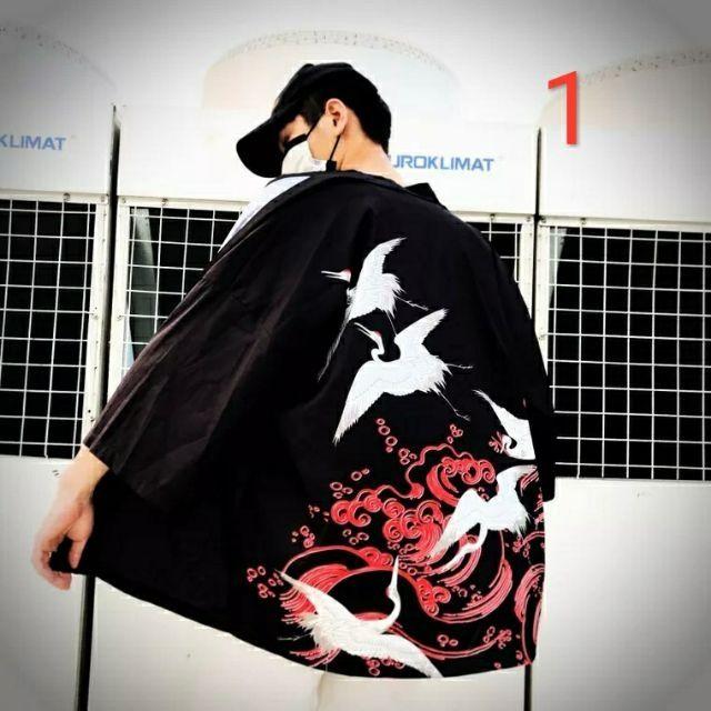 Áo khoác Yukata  nam nữ hạc và rồng  ( Hàng order ) sẵn mã 2 - Áo khoác nhẹ