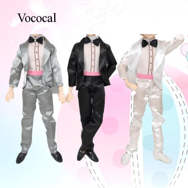 Vococal 3 Sets Assorted Colors Doll Toy Wedding Clothes Groom Suits for Ken Barbie Doll Kids Birthday Xmas Gift