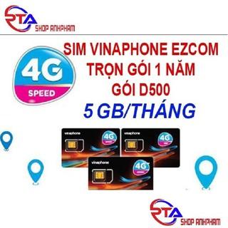 Sim Ezcom Vinaphone D500 trọn gói 1 năm (5 Gb tốc độ cao/tháng)