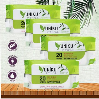 20 gói khăn ướt Yuniku 20 tờ, xanh lá