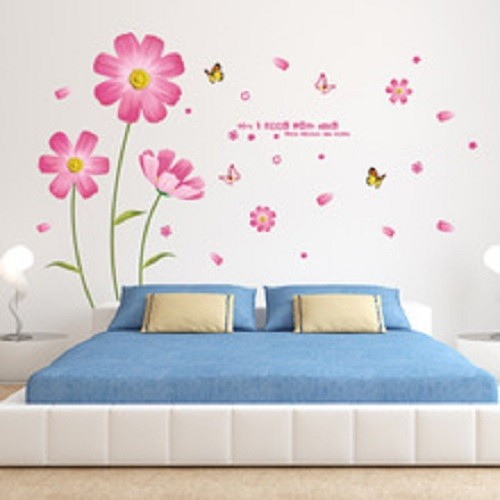 Decal dán tường hoa cánh bướm hồng