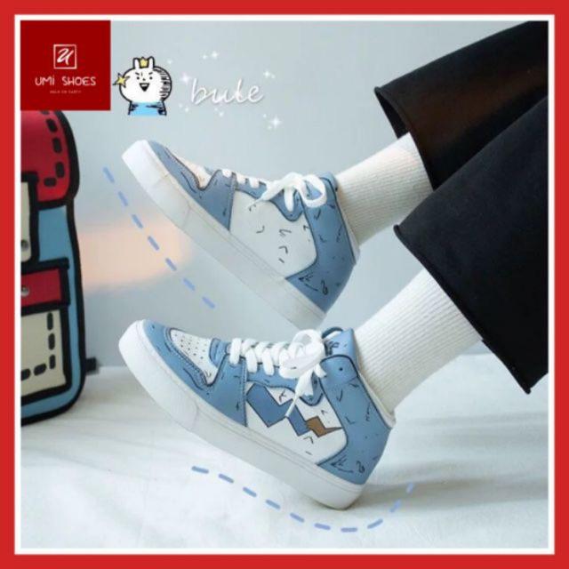 Giày cổ cao nữ Ulzzang Custom Jordan mã 1060 nâng đế bằng cao 2cm da thoáng chân đi học đi chơi xanh biển