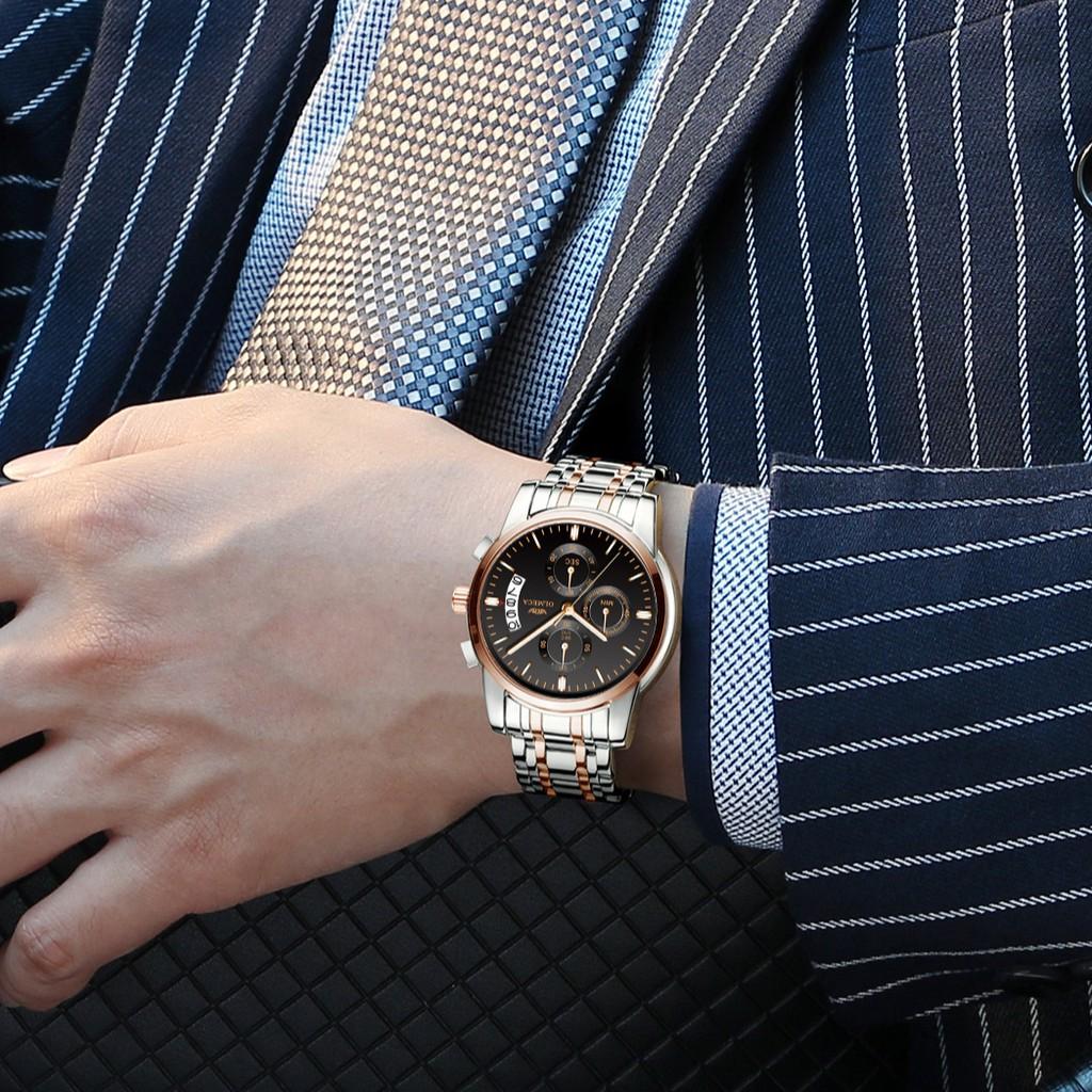 Đồng hồ nam OLMECA chính hãng Fullbox, dây thép đúc không gỉ, 6 kim có lịch ngày - OLMA2