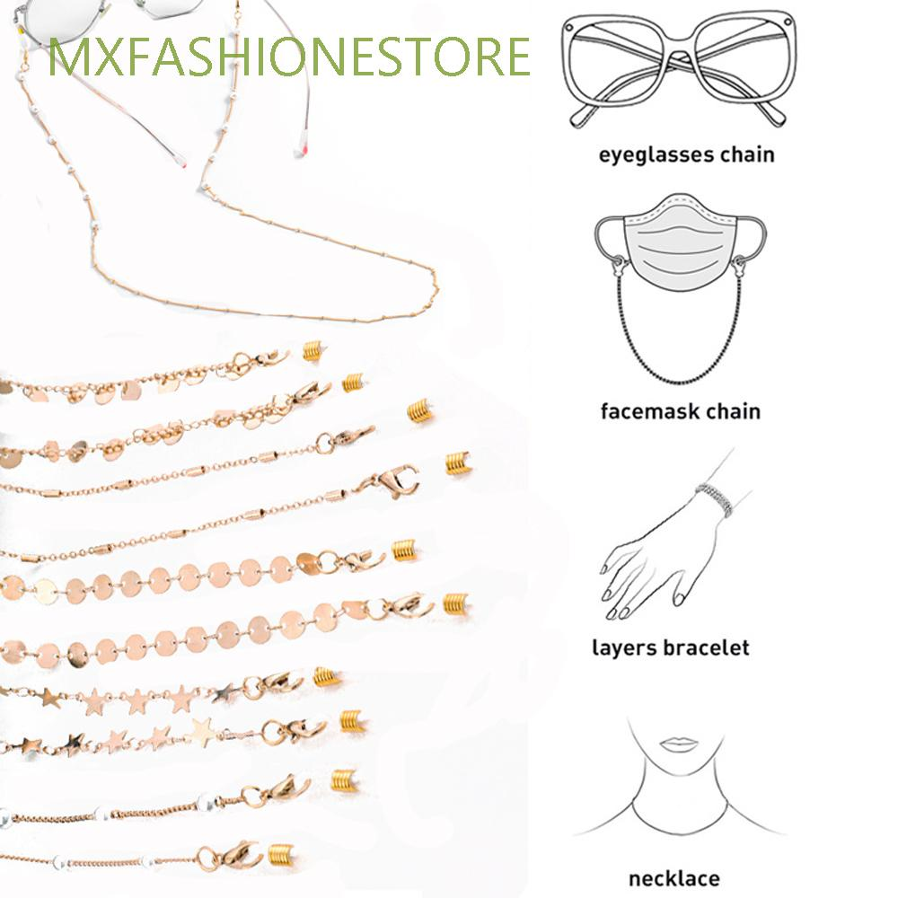 MXFASHIONESTORE Fashion Reading Glasses Chain Eyewear Jewelry Glasses Clips Face Mask Necklace Anti-lost Neck Straps Metal Beads Sunglasses Cords For Women Pearl Chain