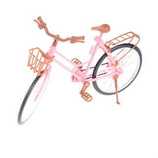 Pink Detachable Bike Bicycle With Basket For barbie Doll House Toy Accesso