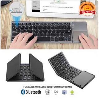 Yêu ThíchBàn phím không dây có di chuột Bluetooth gấp gọn phù hợp mọi máy tính điện thoại - Hàng xịn Agiadep AB033
