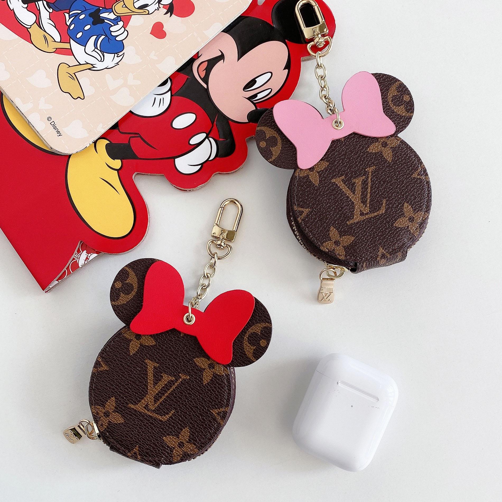 Lv Vỏ Bảo Vệ Hộp Sạc Tai Nghe Airpods 1 / 2 / Pro Bằng Da Pu Hình Mickey Minnie Kèm Móc Khóa