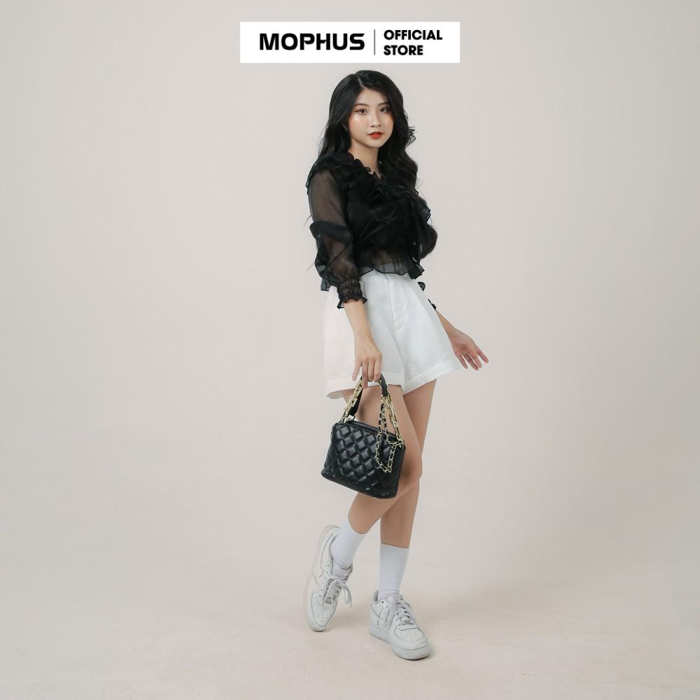 Mặc gì đẹp: Xinh xinh với Áo sơ mi trắng nữ kiểu tay bồng bèo công chúa, áo kiểu nữ tay bèo dự tiệc Mophus - MA011