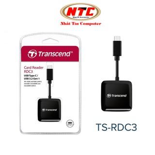 Đầu đọc thẻ nhớ TypeC Transcend TS-RDC3 Gen 1 - hỗ trợ khe microSD SD (Đen) thumbnail