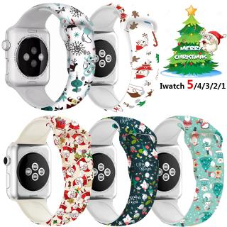 New Printed Sport Band For Apple Watch series 6 5 4 3 2 1 iWatch Christmas Gift Silicone Wrist Strap Dây Đeo Silicon Họa Tiết Giáng Sinh Cho Đồng Hồ Thông Minh for 44mm 42mm 40mm 38mm
