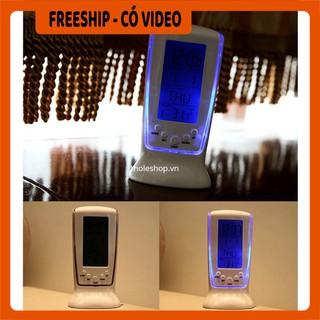 Đồng hồ  BH 1 THÁNG   Đồng hồ để bàn nhiệt kế, thiết kế sang trọng, thanh lịch, có đèn Led màu xanh tinh tế 4939