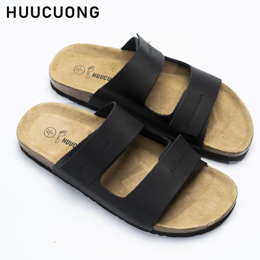 Dép Huucuong dập chỉ da bò đen đế t