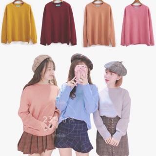 พร้อมส่ง [Miss Sumey] เสื้อไหมพรมแขนยาว Cute Basic สเวตเตอร์ไหมพรม Sweater เสื้อกันหนาวไหมพรม ผู้หญิง สไตล์เกาหลี