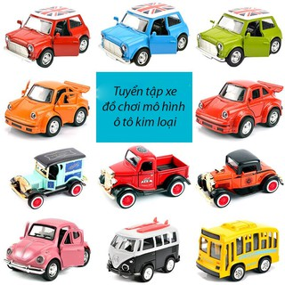 Tuyển tập xe đồ chơi mô hình ô tô phong cách cổ điển chạy cót có led phát sáng, chất liệu kim loại (màu ngẫu nhiên)