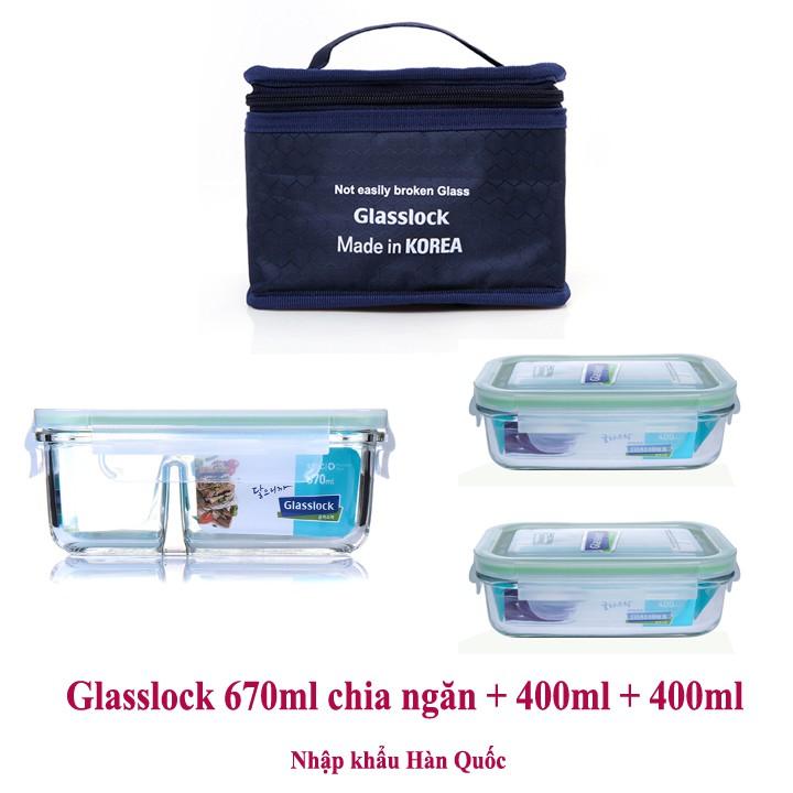 Bộ hộp cơm thủy tinh cường lực Glasslock 670ml chia ngăn + 2 hộp 400ml kèm túi giữ nhiệt - 2523638 , 962381776 , 322_962381776 , 507000 , Bo-hop-com-thuy-tinh-cuong-luc-Glasslock-670ml-chia-ngan-2-hop-400ml-kem-tui-giu-nhiet-322_962381776 , shopee.vn , Bộ hộp cơm thủy tinh cường lực Glasslock 670ml chia ngăn + 2 hộp 400ml kèm túi giữ nhiệt