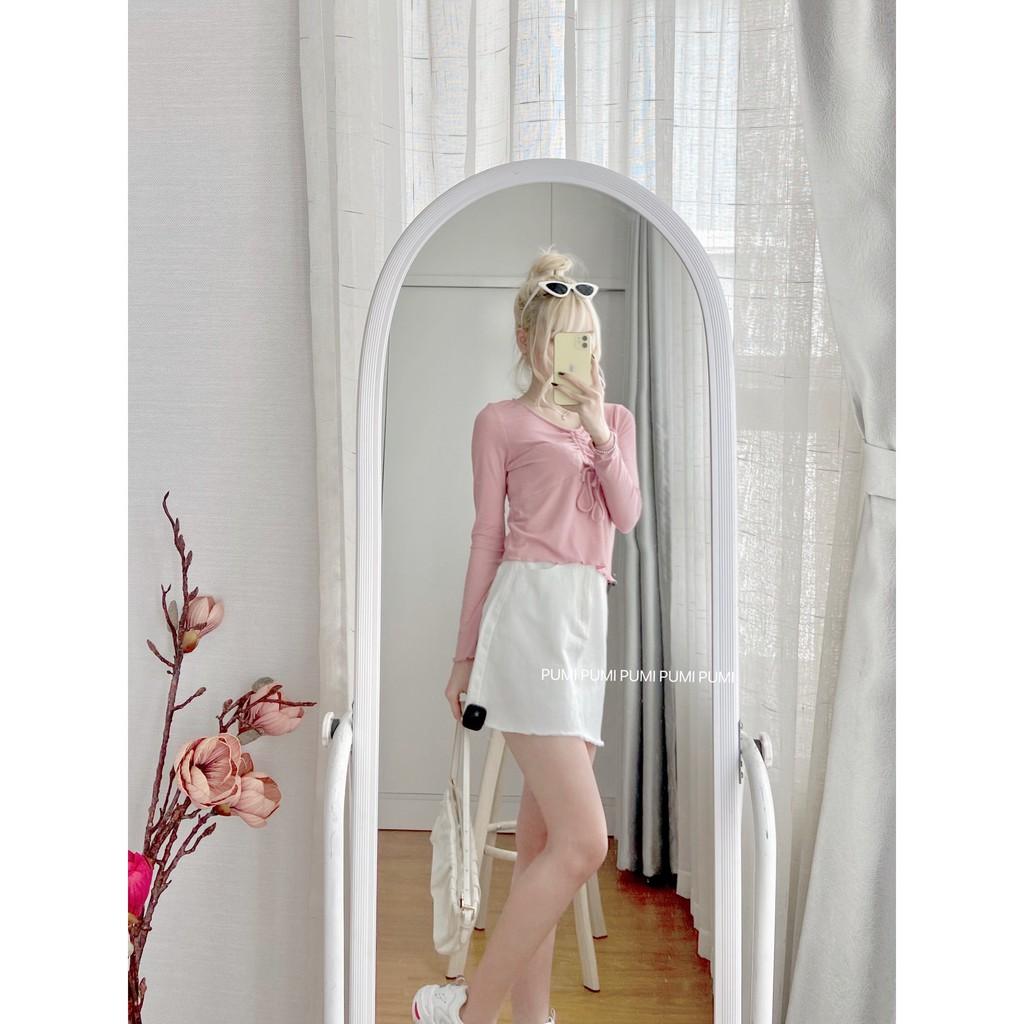 Chân váy jeans trắng form A size SML Pumi