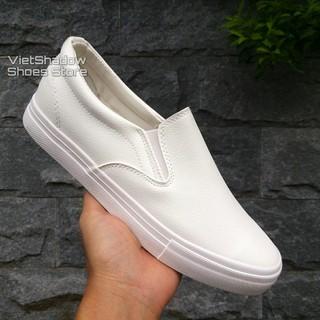 Slip on da nam - Giày lười da nam tăng chiều cao - Chất liệu da PU màu trắng full và đen đế trắng - Mã SP A568 thumbnail