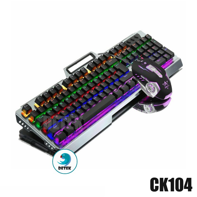 Bàn phím cơ Detek K19 (CK104) LED Rainbow tặng kèm chuột game thủ LED Rainbow DPI 3200 và lót chuột