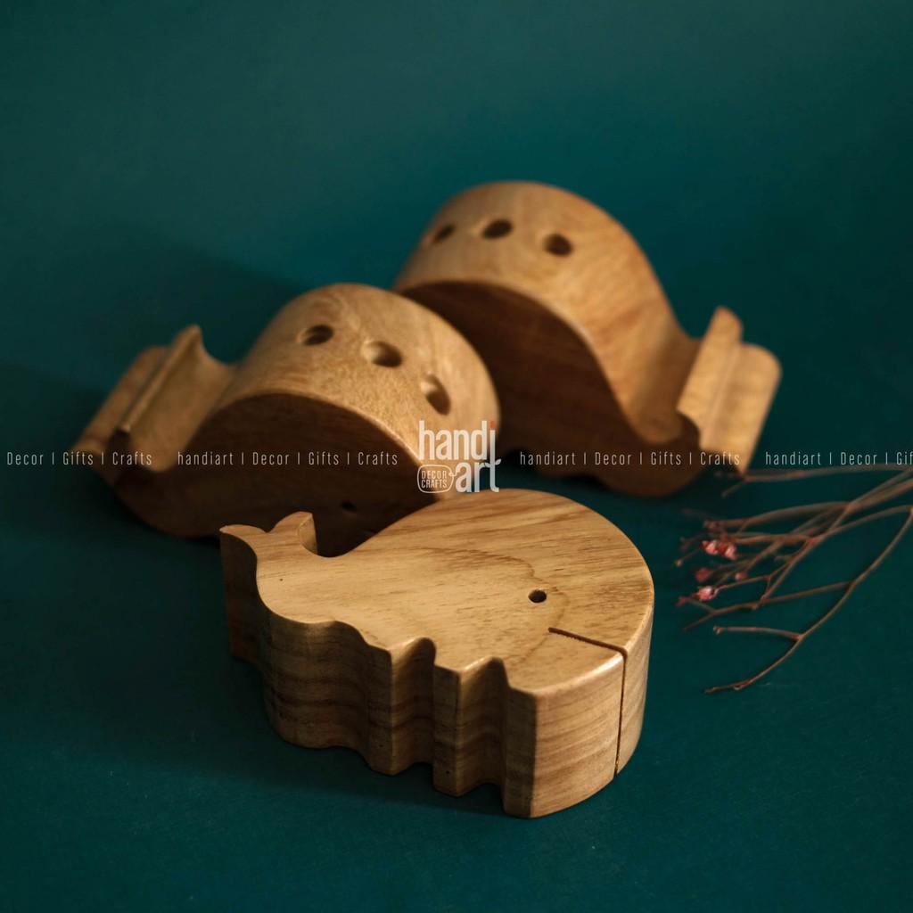 Giá gỗ gác điện thoại - hình cá heo/ hình con voi - Wooden phone rack